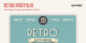 $35  Retro Portfolio - One Page Vintage WordPress Theme